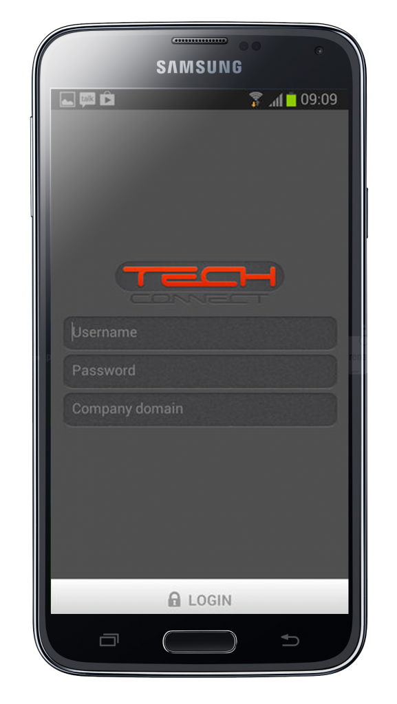TechConnect login page - Hand Held Device